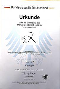 Wir haben offiziell beim deutschen Marken - und Patentamt unser Logo als Marke schützen lassen.